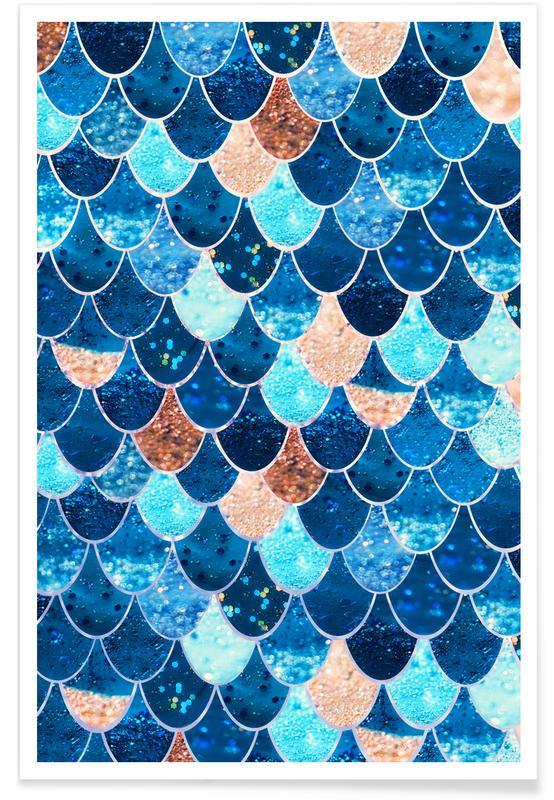 Zeemeermin blauw - patroon poster