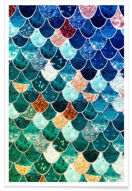 Mermaid Teal Pattern Poster