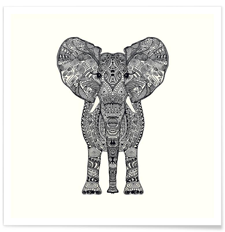 Noir & blanc, Éléphants, Aztec Elephant affiche