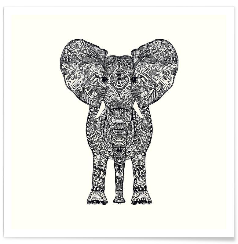 Sort & hvidt, Elefanter, Aztec Elephant Plakat