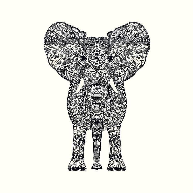 Aztec Elephant -Leinwandbild