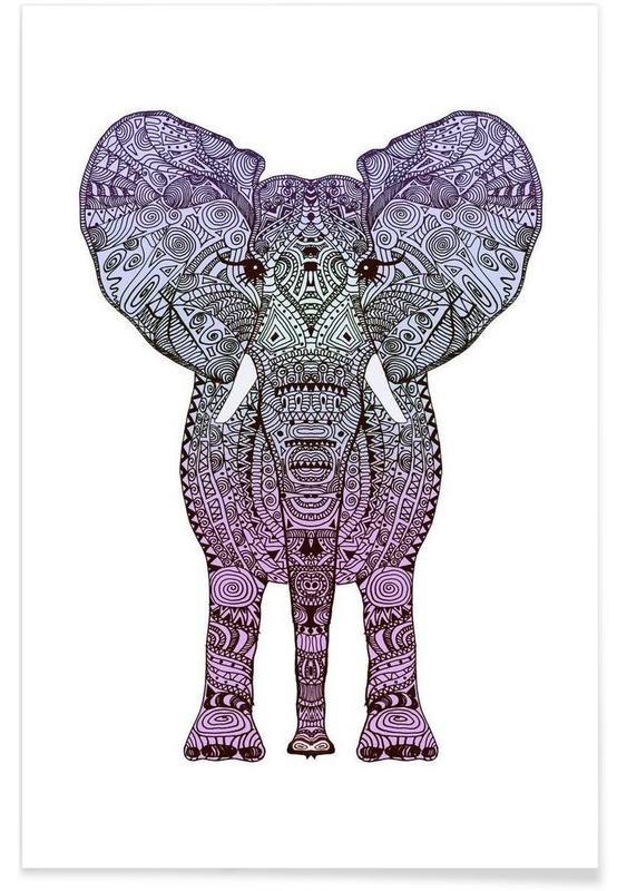 Éléphants, Art pour enfants, Purple Elephant affiche