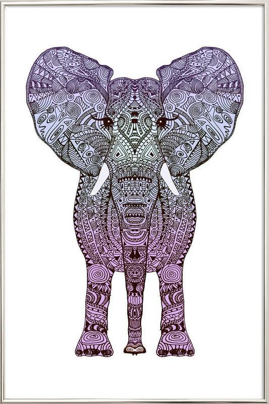 Purple Elephant Poster in Aluminium Frame