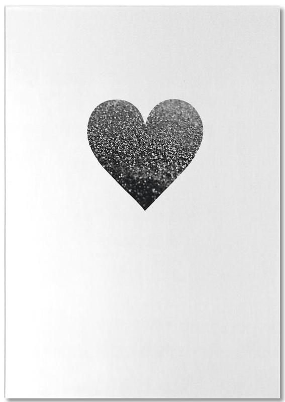 Black & White, Hearts, Black Heart Notepad