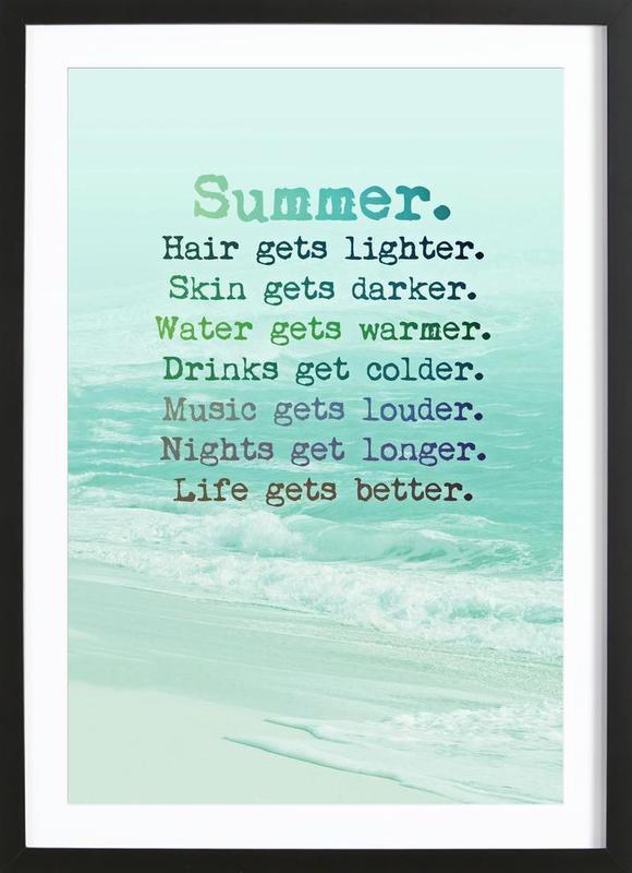 Summer affiche sous cadre en bois