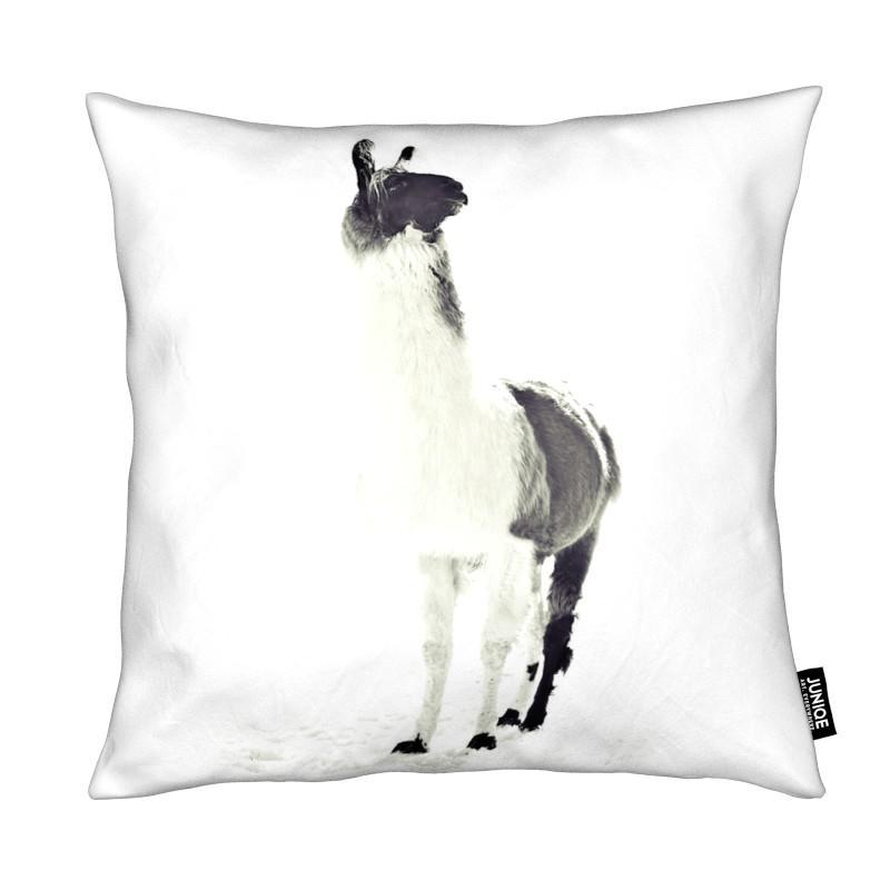 Lamas, Noir & blanc, Fluffy Lama coussin