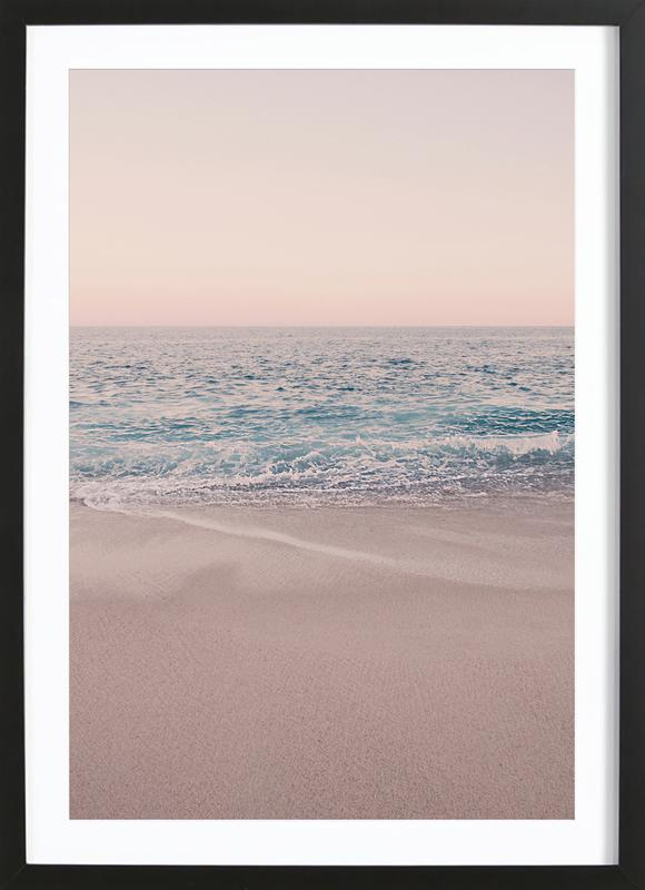 Rosegold Beach Morning -Bild mit Holzrahmen