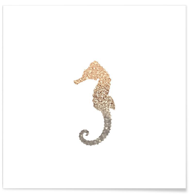 Børneværelse & kunst for børn, Søheste, Glitter - Gold Seahorse Plakat