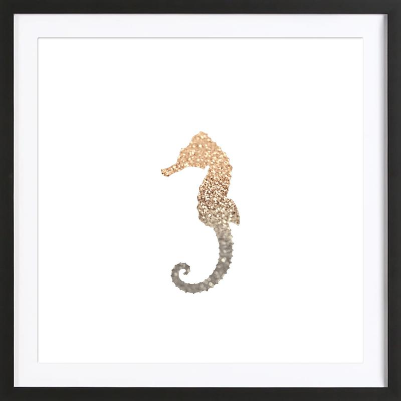 Glitter - Gold Seahorse -Bild mit Holzrahmen