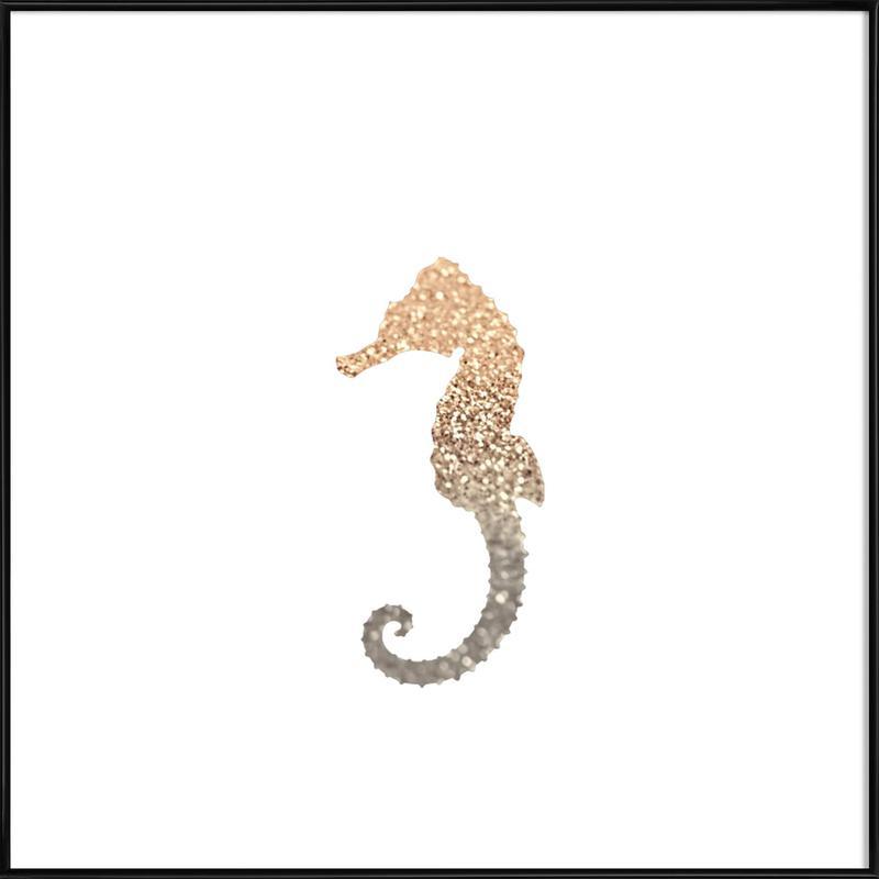 Glitter - Gold Seahorse -Bild mit Kunststoffrahmen