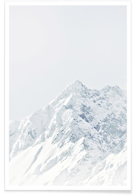 Schwarz & Weiß, Berge, White Mountain 2 -Poster