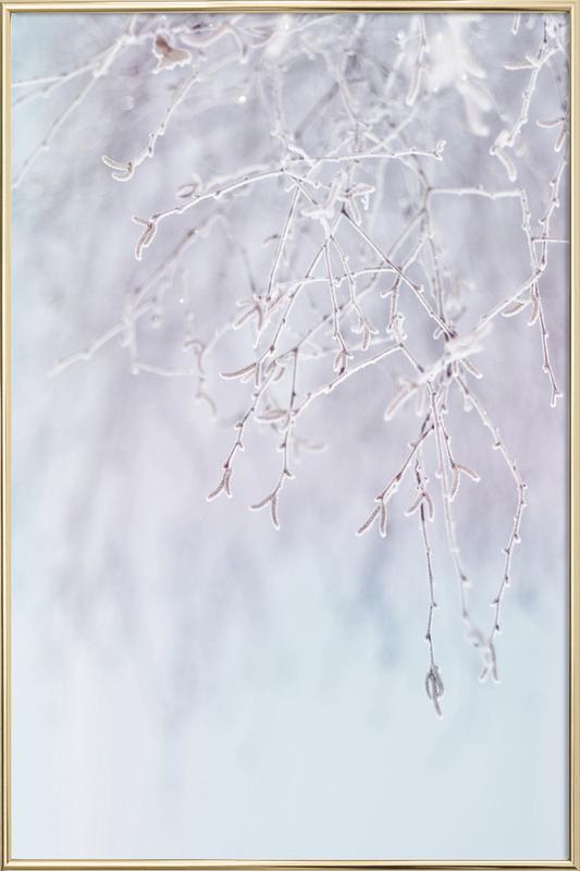 Frozen Twigs Pastel Poster in Aluminium Frame