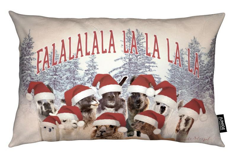 Noël, Lamas, Never Stop Exploring Falalalala coussin