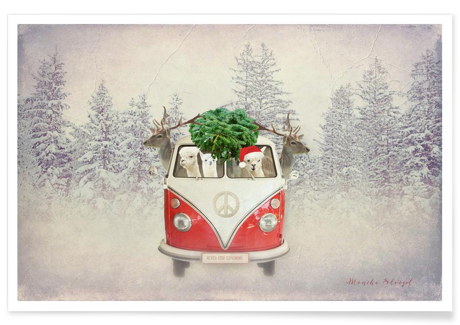 Lama, Weihnachten, Never Stop Exploring X-Mas -Poster