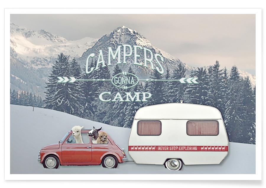 Lama, Jul, Never Stop Exploring Winter Camping Plakat
