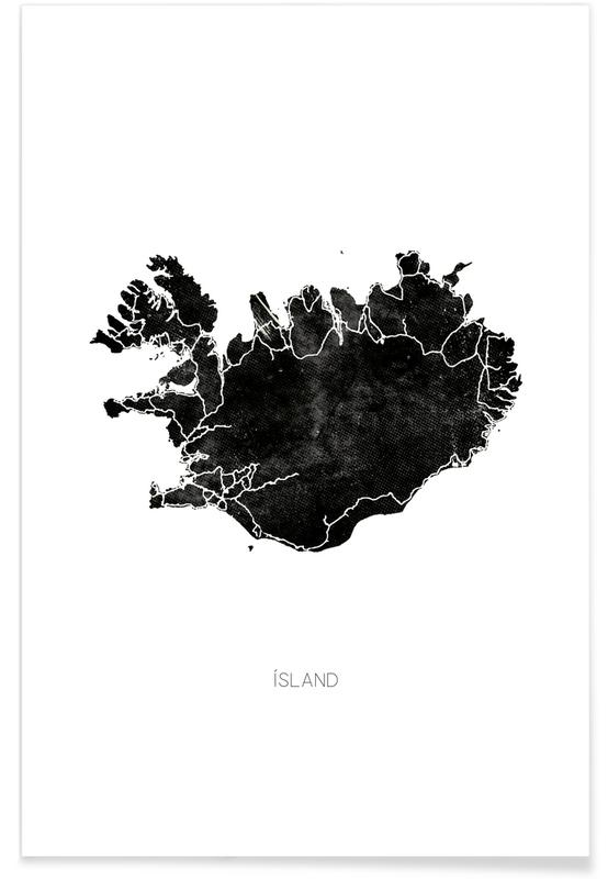 Black & White, Country Maps, Black Iceland Map Poster
