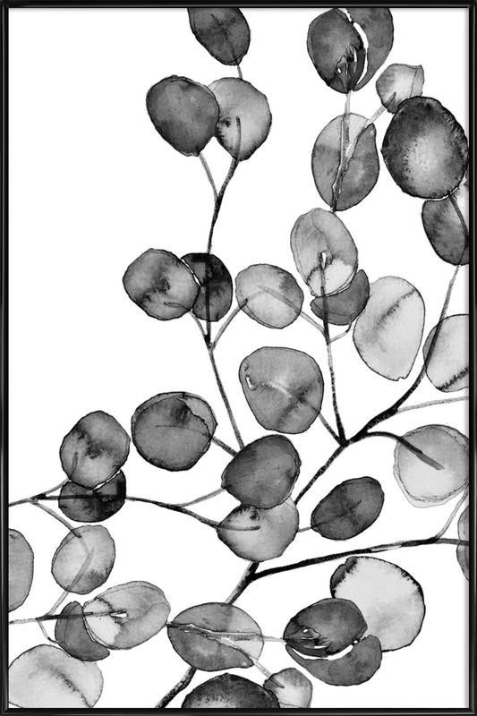 Eucalyptus Watercolor Black & White Framed Poster