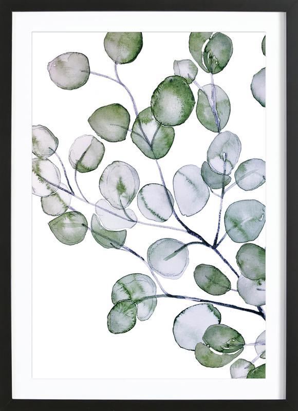 Eucalyptus Watercolor -Bild mit Holzrahmen