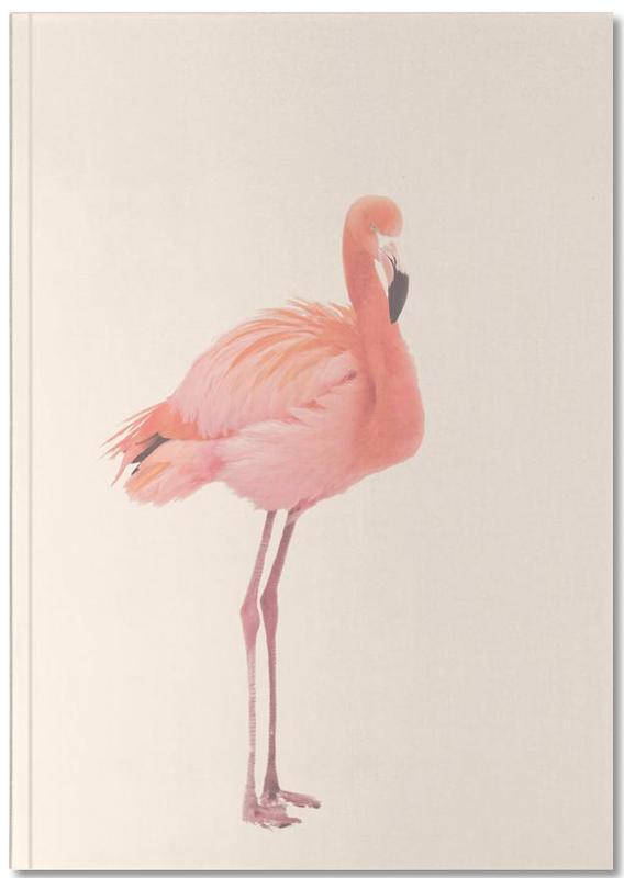 Flamingos, Flamingo in Snow Rose Notebook
