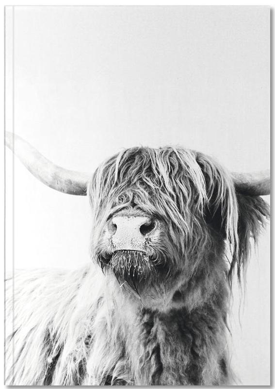 Noir & blanc, Vaches Highland, Buffles, Highland Cattle Frida 2 Notebook
