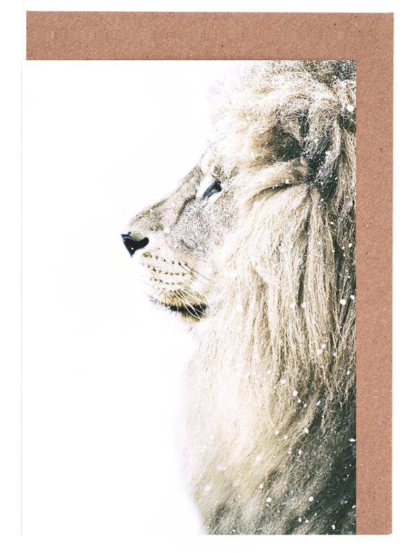 Löwen, Lion ín Snow -Grußkarten-Set