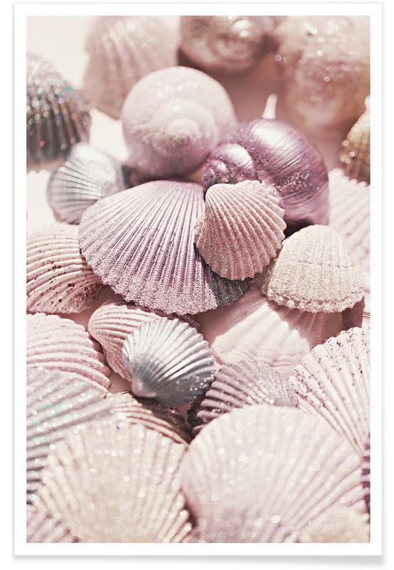 Ocean, Lake & Seascape, Shells and Glitter Poster