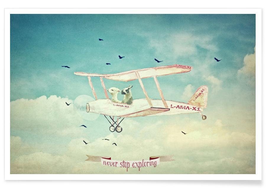 Børneværelse & kunst for børn, Flyvemaskiner, Lama, Rejser, Never Stop Exploring III Plakat