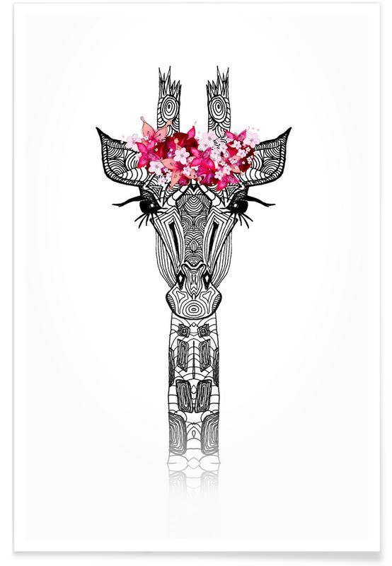 Black & White, Giraffes, Flower Girl Giraffe Poster