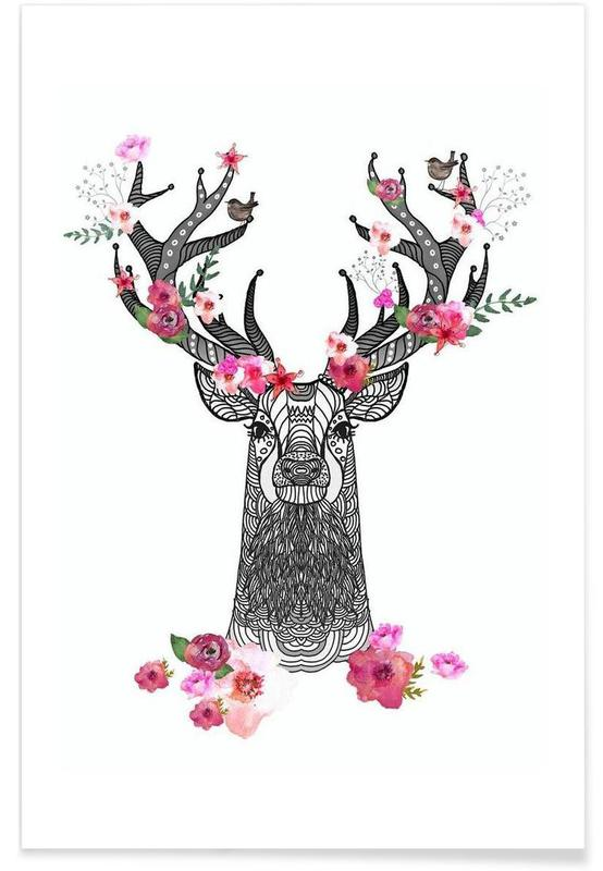 Flower Stag Poster