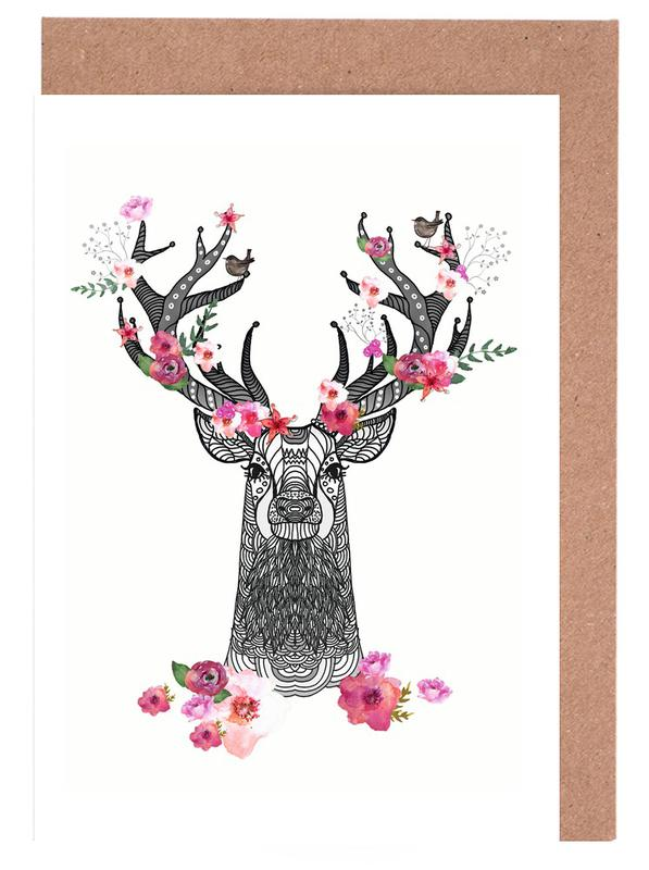 Flower Stag Greeting Card Set
