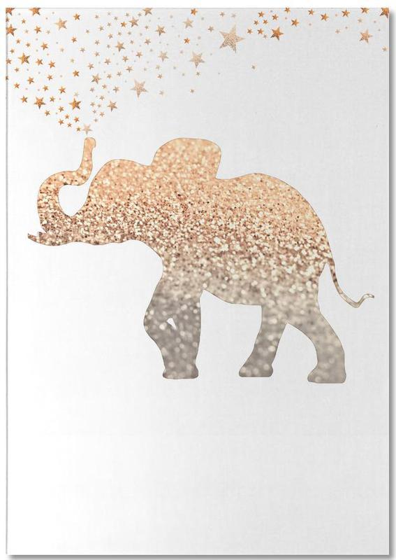 Elephants, Gold Elephant Notepad