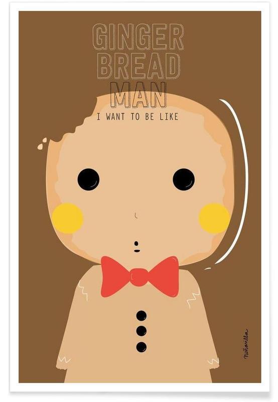 Jul, Barnkammar & konst för barn, Little Gingerbread Poster