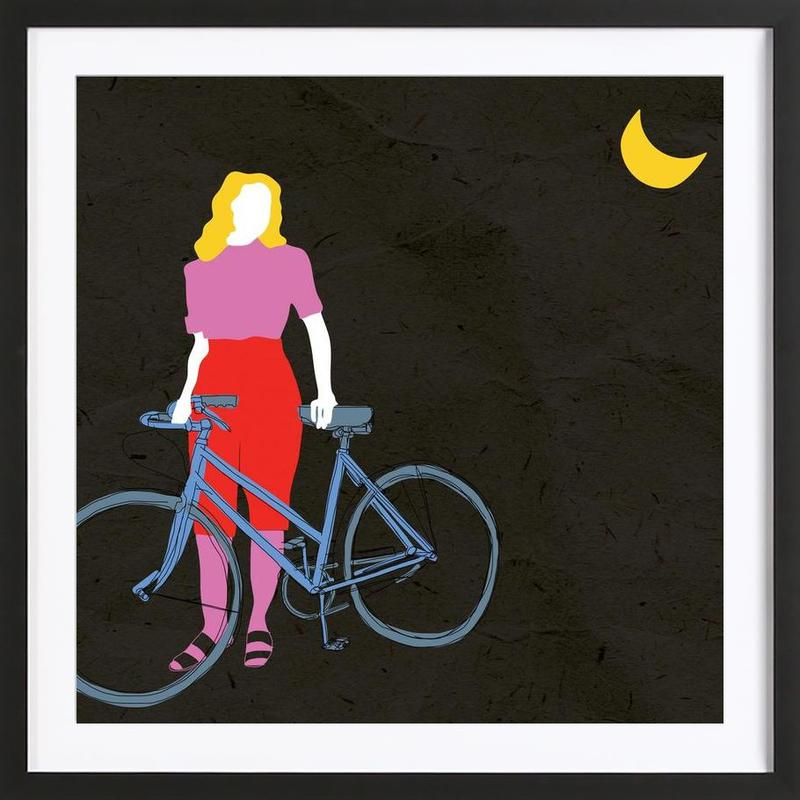 Bicycles, Night Vision Framed Print