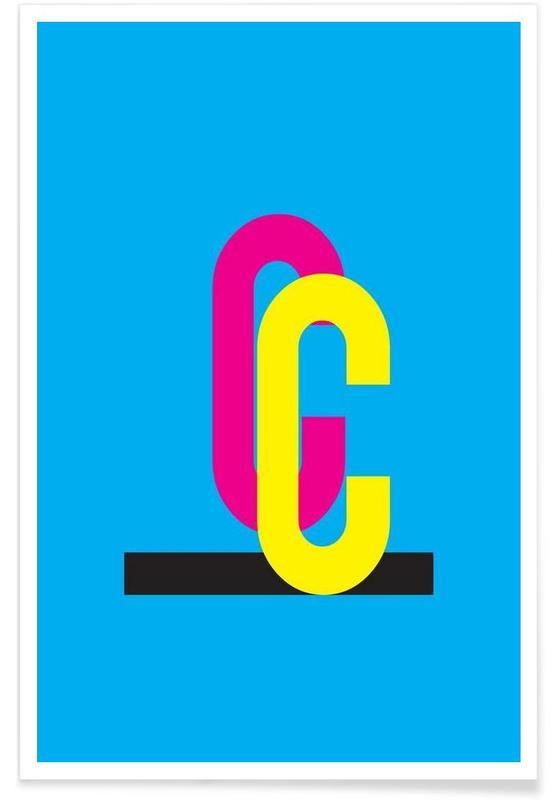 Alfabet og bogstaver, CMYK-C Plakat