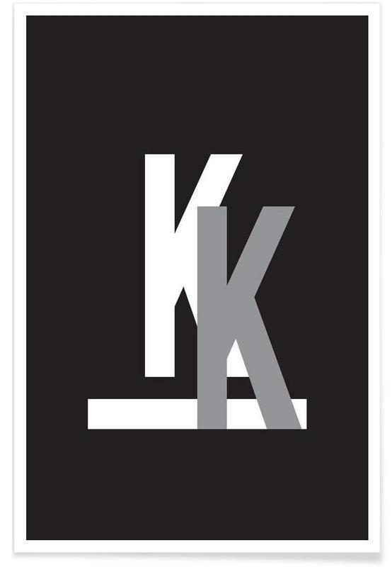 Alfabet en letters, Zwart en wit, CMYK-K poster