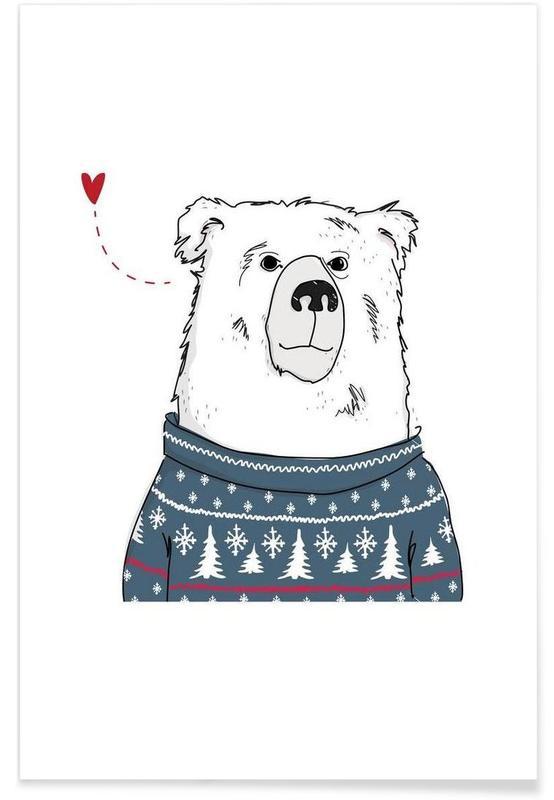Ours, Cœurs, Winter Bear affiche
