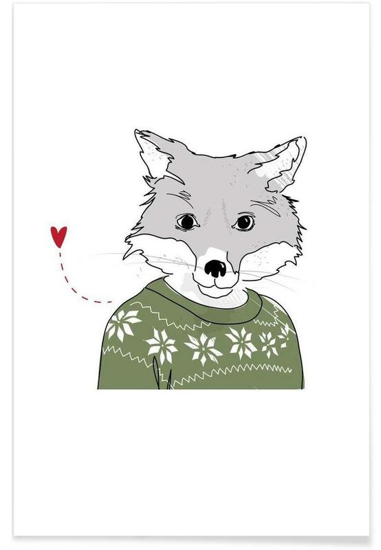 Renards, Art pour enfants, Furry Fox affiche