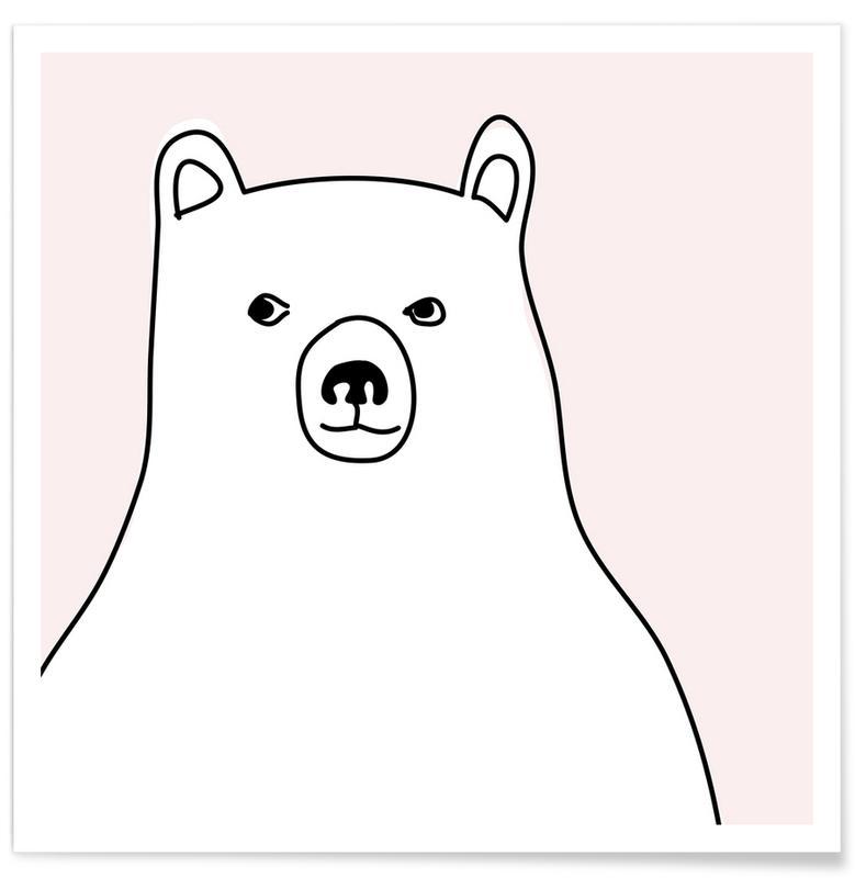 Bären, Kinderzimmer & Kunst für Kinder, Bear in a Pink Square -Poster