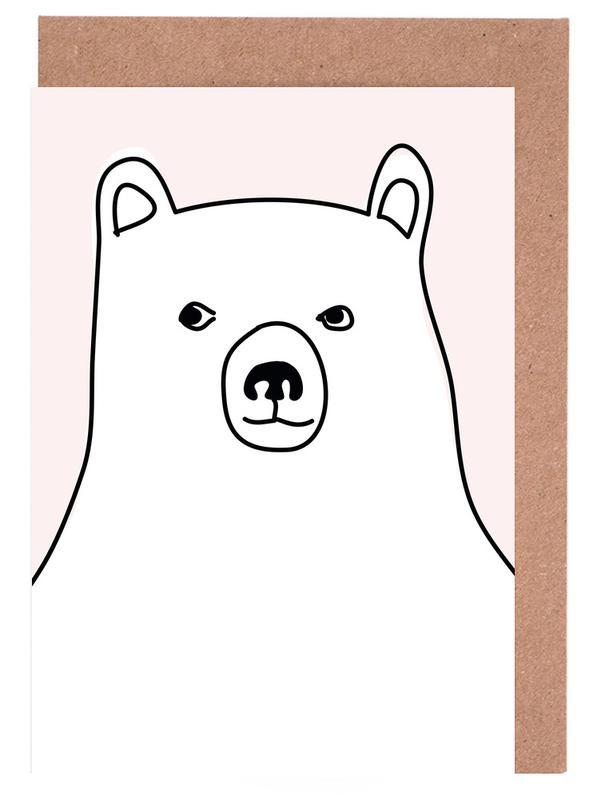 Beren, Kunst voor kinderen, Bear in a Pink Square wenskaartenset