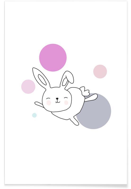 Art pour enfants, Lapins, Space Rabbits Astra affiche