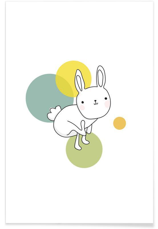Art pour enfants, Lapins, Space Rabbits Luna affiche