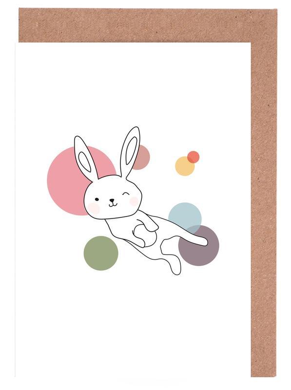 Kunst voor kinderen, Konijnen, Space Rabbits Selena wenskaartenset