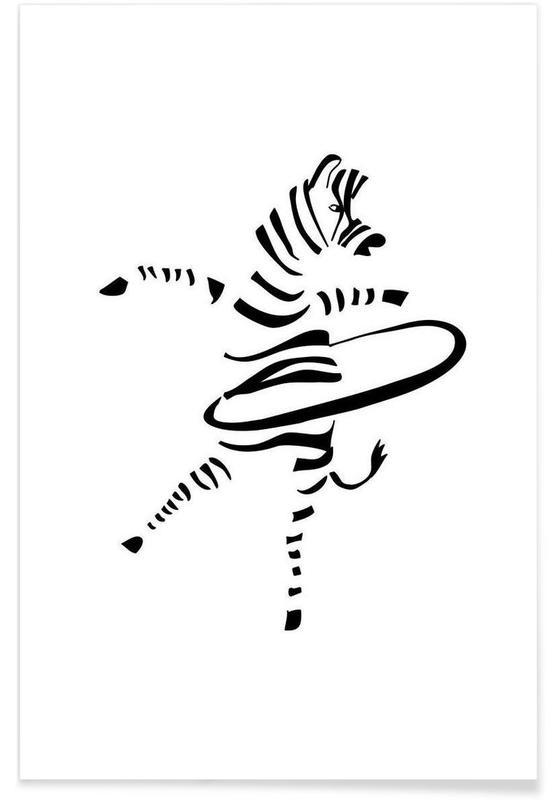 Noir & blanc, Zèbres, Hula-Hoop Zebra affiche