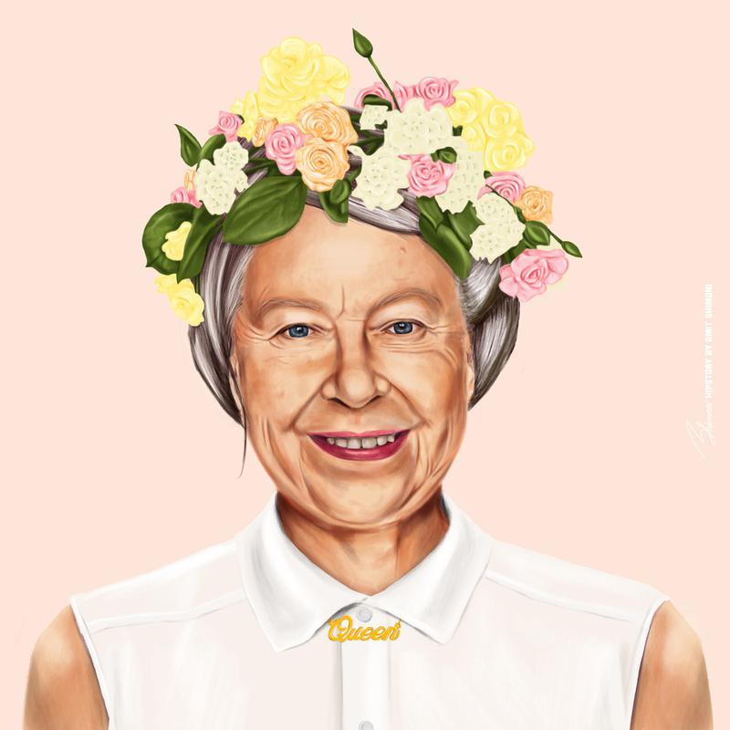 Queen Elizabeth canvas doek