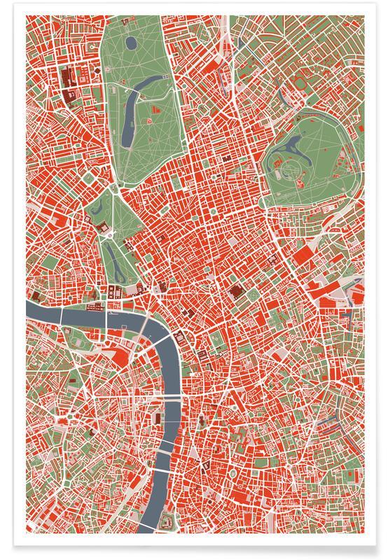 Cartes de villes, Londres, LONDON classic affiche