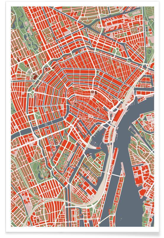 Amsterdam, Stadtpläne, Amsterdam Classic -Poster