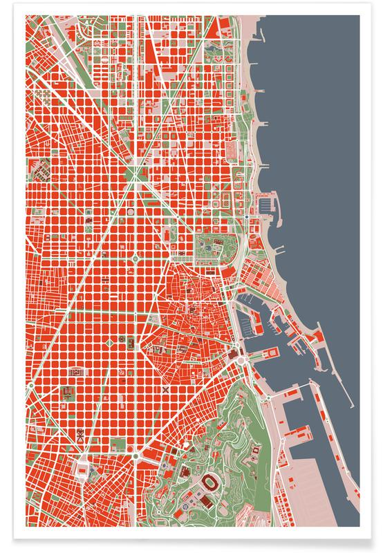 Barcelona, City Maps, Barcelona Classic Poster