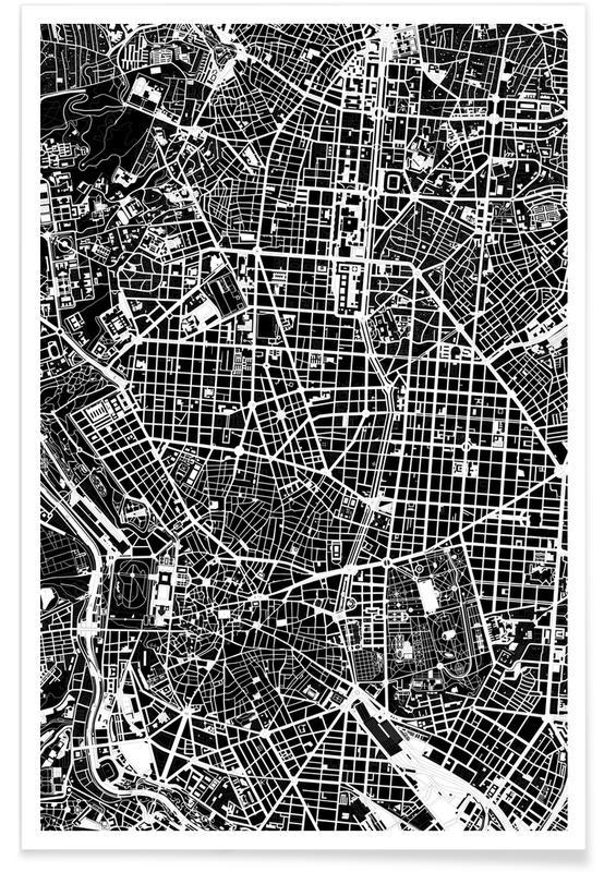 Schwarz & Weiß, Stadtpläne, Madrid, Madrid Black & White -Poster