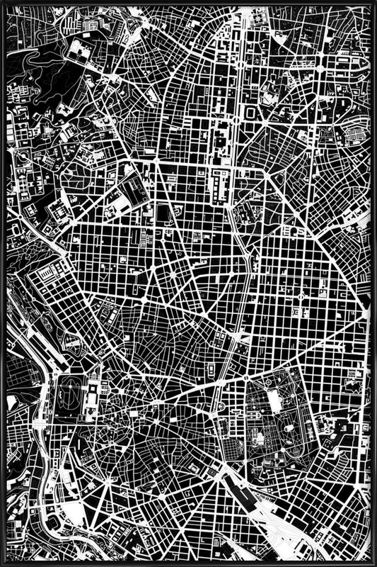Madrid Black & White Framed Poster