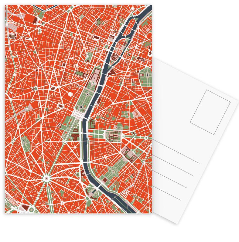 City Maps, Paris, Paris Classic Postcard Set